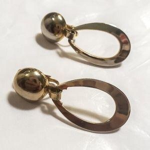 Vintage Gold Dangling Hoop Earrings